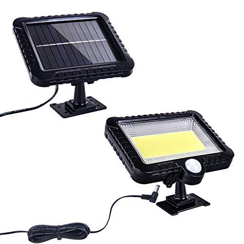 ZICBOL Lámparas solares para exteriores, 100 luces LED solares con detector de movimiento, IP64 resistente al agua, lámparas solares divididas para jardín, patio, valla.