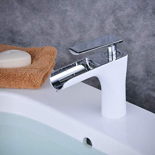 YLLN Grifo para Lavabo de baño con caño en Cascada, Grifo Monomando Moderno para Lavabo, Pintura Blanca y cromada, W