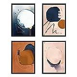 Set di 4 Poster Astratto Quadro, Regalo, Arredo Negozio, Ufficio, Camera da letto, Soggior...