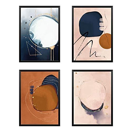 Set di 4 Poster Astratto Quadro, Regalo, Arredo Negozio, Ufficio, Camera da letto, Soggiorno, stampe d'arte - DIN A4 verticale 21x30 cm