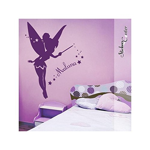 Sticker Personnalisable Fée Clochette - Blanc, Orientation - Inverse, Taille - 93 x 118 cm