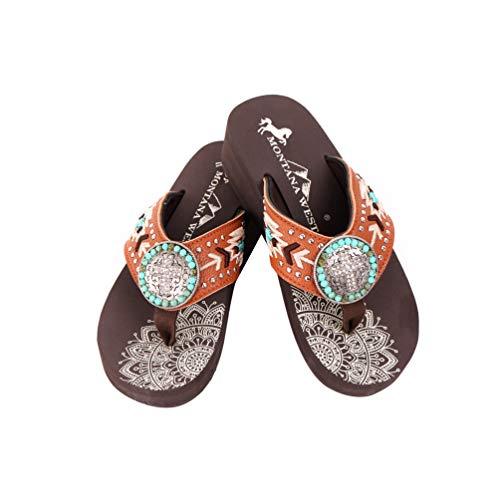 Montana West Flip Flops for Women Women's Flip Flop Sandals Embroidered Studded Flip Flop Brown- SE101-S099BR-6