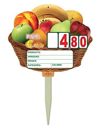 Portaprecio Frutas, Pizarra para frutas, portaprecio fruteria, pizarra precios - 12 ud. (Paleta)