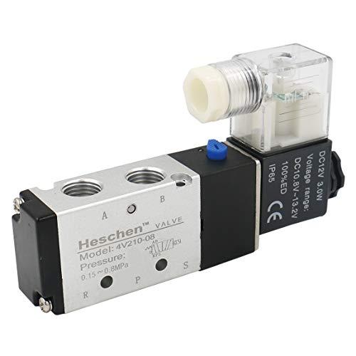Heschen-Elektro-pneumatisches Magnetventil, 4V210-08, 12 V Gleichstrom, 4,8W, PT1/4, 5Wege, 2 Positionen