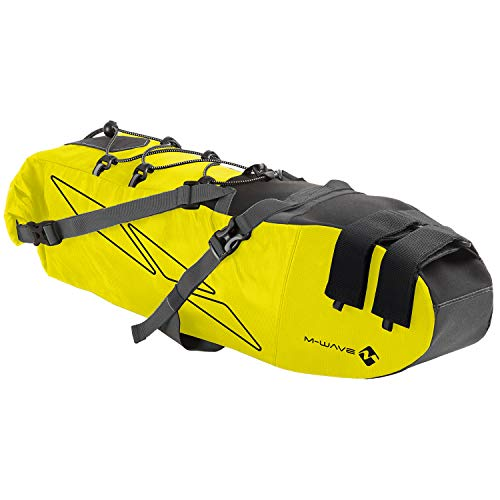 M-WAVE Unisex – Erwachsene Rough Ride Saddle L Fahrrad Satteltasche neongelb, ca. 53x13x15 cm