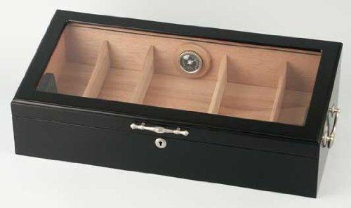 Passatore Humidor schwarz/Sichtfenster für ca. 150 Cigarren H17 x B55 x T27cm, mit Schloss, 2 Griffe, Hygrometer 2 Acrylpolymer-Humidifer, 4 verstellbaren Trennleisten
