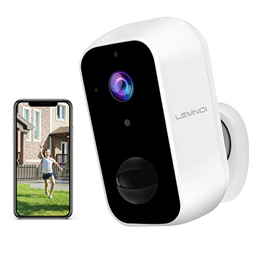 Lemnoi Security Outdoor Camera Wireless - Wifi CCTV Rechargeable Battery Powered Camera 1080p HD Indoor Surveillance Camera with Waterproof, Human Motion Detection, Night Vision, 2-Way Audio, Cloud&SD