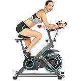 ANCHHER Bicicleta de Spinning Bicicleta Indoor de Volante de Inercia de 18kg Conecto con App Resistencia Ajustable y Monitor LCD para Ejercicio en el Hogar (Plateado (Volante de inercia 18kg))