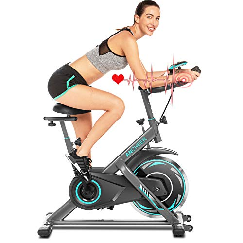 ANCHHER Bicicleta de Spinning Bicicleta Indoor de Volante de