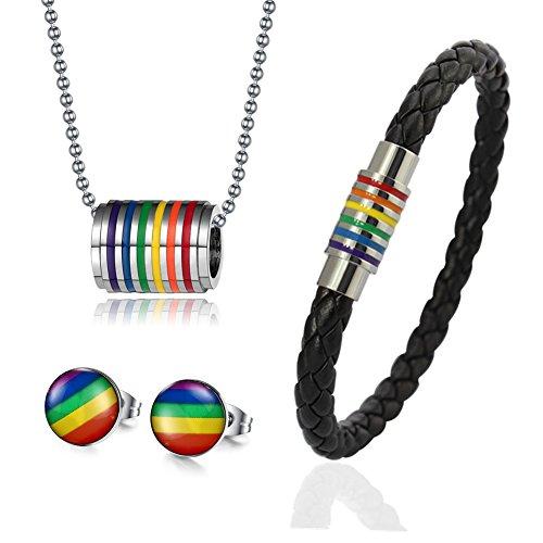4Pcs Gay Lesbian Rainbow Pride Jewelry Sets,Bracelet + Earrings + Necklace