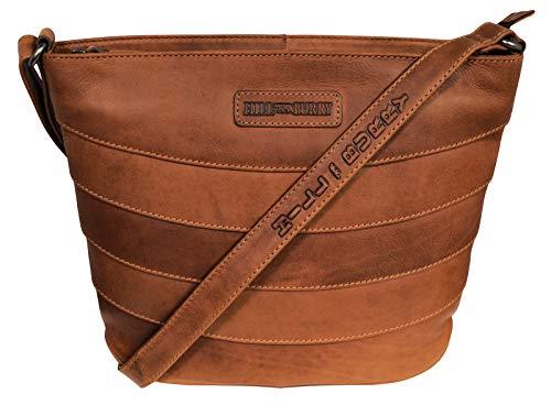 Hill Burry Damen Shopper | aus weichem hochwertigem Rindsleder - Vintage Bag Beutel | Umhängetaschen Schulterbeutel - Abendtasche | Handtasche - Schultertasche (Braun)