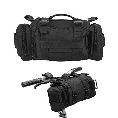 BraveHawk OUTDOORS Bike Handlebar Bag, 900D Nylon Oxford Multi-Purpose Tactical Waist Bag Water Resistant Bicycle Cycling Pack (Black)