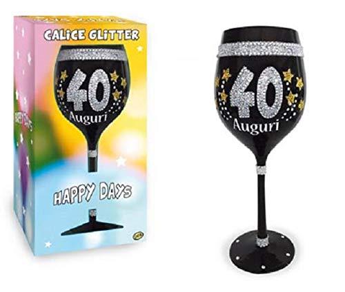 dor Calice Maxi 40 Anni in Vetro Nero con Stampa Glitter - Gadget Idea Regalo Festa 40° Compleanno