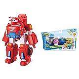 Super Wings Deluxe Transforming Jett Vehicle, Color Rosso, 7 Pulgadas + Transform-A-Bots Paquete De 4 | Donnie, Mareos, Jerome, Bello | Figuras De Juguete | Figuras De 2 Pulgadas