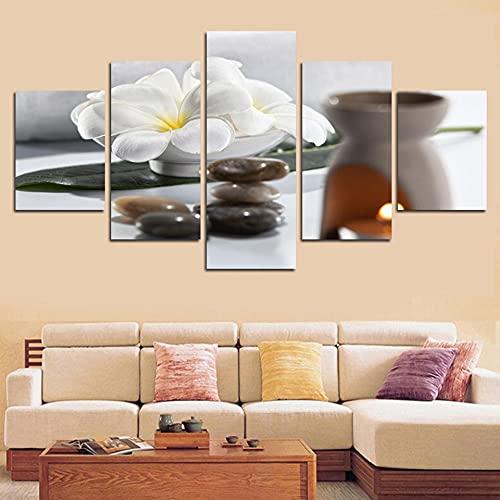 Cuadro Flores Blancas Y Piedra XXL Impresiones En Lienzo 5 Piezas Cuadro Moderno En Lienzo Decoración para El Arte De La Pared del Hogar HD Impreso Mural Enmarcado