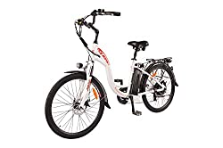 commercial DJ City Bicycle 750W 48V 13Ah Step-Through Power Electric Bicycle, Pearl White, LED Bicycle Light, Fork … folding cruiser bike