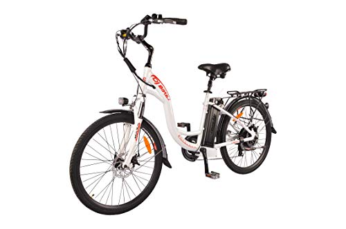 DJ City Bike 500W 48V 13Ah Power Electric Bicycle, Pearl White, LED Bike Light, Fork Suspension and Shimano Gear