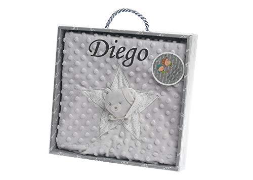 Manta Bebe Personalizada con nombre bordado- danielstore (Osito gris)
