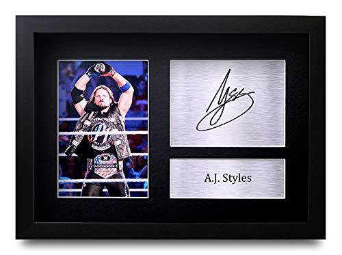 HWC Trading A.J. Styles A4 Gerahmte Signiert Gedruckt Autogramme Bild Druck-Fotoanzeige Geschenk Für WWE Wrestling-Fans