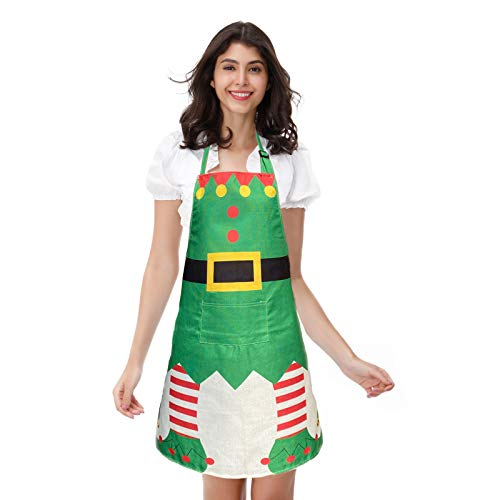 DailyValley Christmas Elf Apron, 1 Pack Santa's Helper Costume Elf Aprons for Xmas Party, Elf A