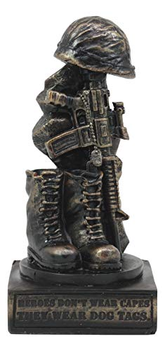 """Ebros Patriotic Fallen Soldier Memorial Statue 8"""" Tall Military Rifle Helmet Boots Dog Tag Sculpture for Desktop Shelves Office Study Table Home Decor Figurine"""