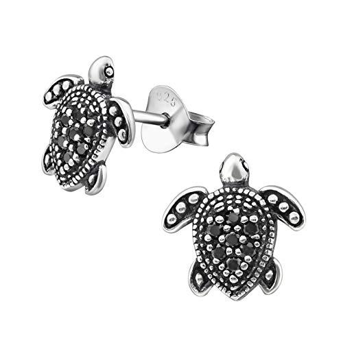 Monkimau Damen Ohrringe Schildkröten Ohrstecker aus 925 Sterling Silver echt Silber mit 14 Kristallen