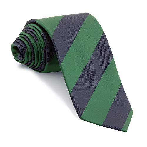 Corbata Rayas Anchas estilo Británico (Rayas Verde Botella y Azul Marino)
