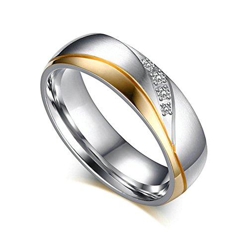 Beydodo 1 PCS Damen Ring Edelstahl Edelstahlring Hochglanzpoliert mit Zirkonia Breite 6MM Freundschaftsringe Eheringe Silber Gold Größe 52 (16.6)
