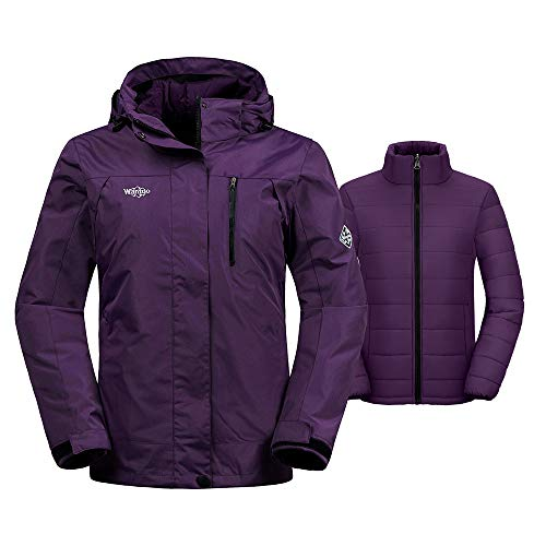 Wantdo Women's Thick 3-in-1 Ski Jacket Interchange Raincoat Hooded Mountain Winter Parka with Detachable Puffer Liner Outwear Medium Dark Purple