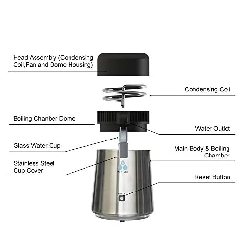 ECO-WORTHY 1 Gallon Water Distiller -Pure Water Distillation with Glass-Lined Nozzle Filter and Manual Power Switch… 5