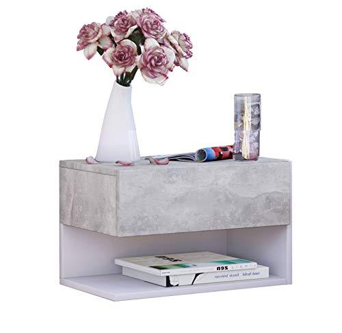 VCM Wandschublade Hängeschrank Wandregal mit Schublade Wandablage Dielenschrank Beton-optik/Weiß 30 x 46 x 30 cm Klado