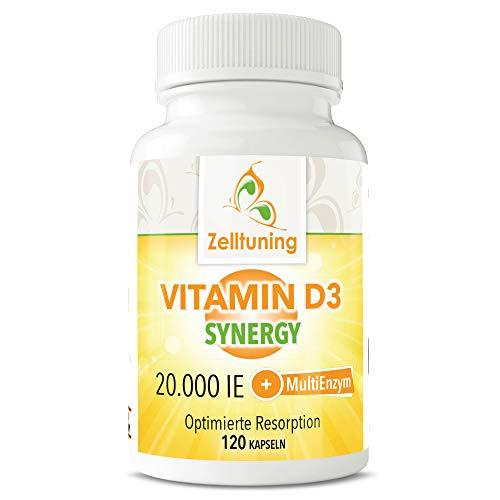 Zelltuning Vitamin D3 MultiEnzym, Vitamin D 20.000 IE pro Depot-Kapsel, Vitamin D3 in einer MultiEnzym-Lecithin Matrix.120 Vitamin D Kapseln.