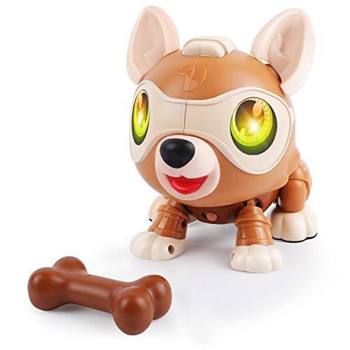 DeeXop Roboter Hund,DIY interaktiver Hund mit Laufen,Bellen, Musik,Licht und Mehreren Sensorfunktionen, Elektrischer Hund Spielzeug Kinder 4 5 6 7 8 Jahre,perfekte Jungen und Mädchen Geschenke