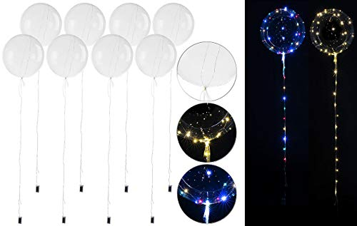 PEARL Beleuchteter Luftballon: 8er-Set Luftballons mit Lichterkette, 40 weiße & 40 Farb-LEDs, Ø 25 cm (Luftballons Partys)