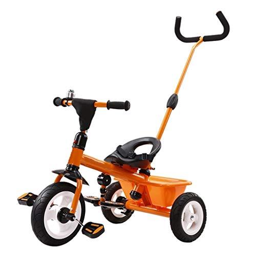 WENJIE Triciclo Multifunción Portátil De Triciclo Infantil 3 En 1 Triciclo 2-6 Años Saldo Al Aire Libre Antiguo Bici del Bebé De 3 Colores, 64x74x47cm (Color : Orange)