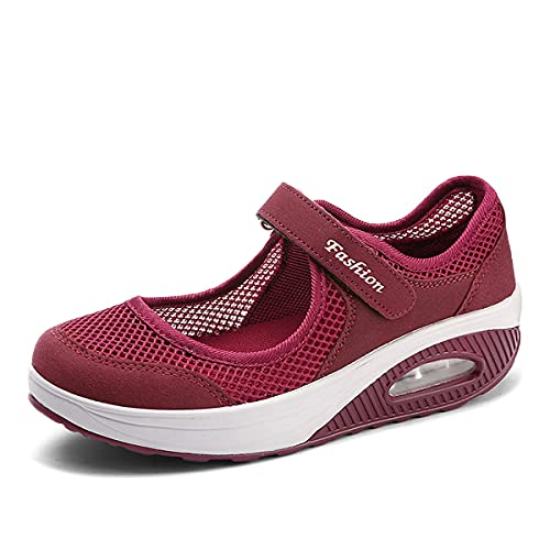 Zapatos para caminar ligeros y transpirables elásticos para mujer, zapatos cómodos y transpirables para caminar, amortiguador transpirable ajustable antideslizante,Zapatos deportivos Lady Soft (A,41)