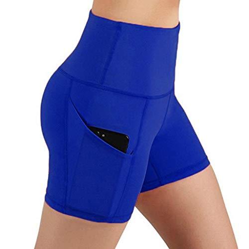 Andouy Damen Sport Leggins Hohe Taille 3/4 Yogahose Blickdichte Laufhos Fitness Shorts Jogginghose mit Taschen(M.Blau)