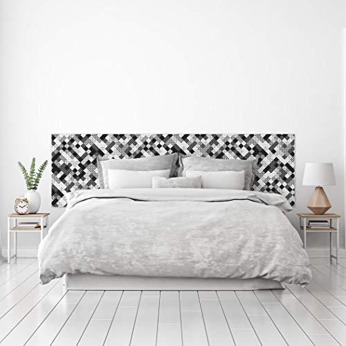 MEGADECOR Cabecero Cama PVC Decorativo Económico Diseño de Geométrico de Cuadros de Puno Blanco y Negro Varias Medidas (150 cm x 60 cm)