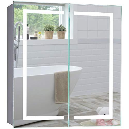 Neue Design LED beleuchteter Badezimmer Spiegelschrank, 6500K, TÜV geprüft, Antibeschlag-Pad ohne Kabel, Steckdose, Sensor-Schalter,LED-Lichter 70cmx65cmx15cm HxBxT C28