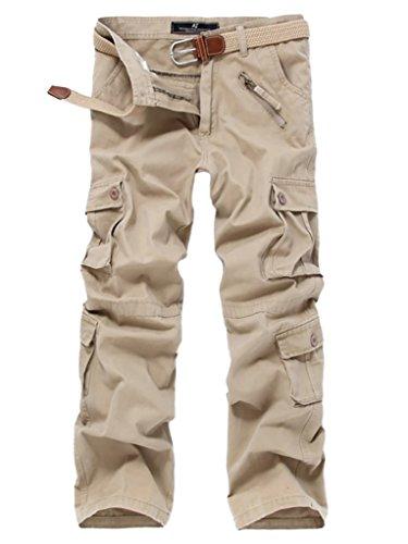 WSLCN Homme Cargo Pantalon de Travail Multi Poches Vintage Combat Militaire Pants (sans Ceinture) Kaki Taille FR 41 (Asie 32)
