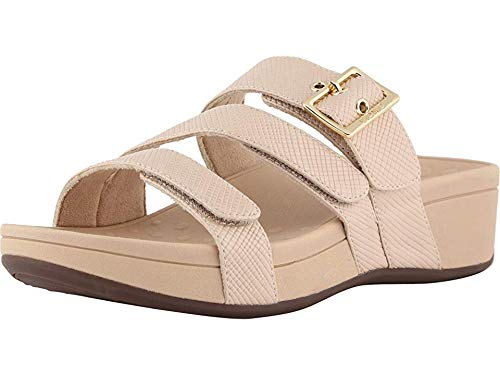 Vionic Women's Pacific Rio Platform Sandal - Ladies Adjustable Slide Sandal with Concealed Orthotic Arch Support Nude Lizard 11 Wide US