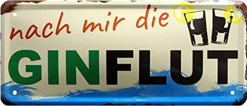 Plaque décorative en tôle avec Inscription « Gin Flut » 28 x 12 cm