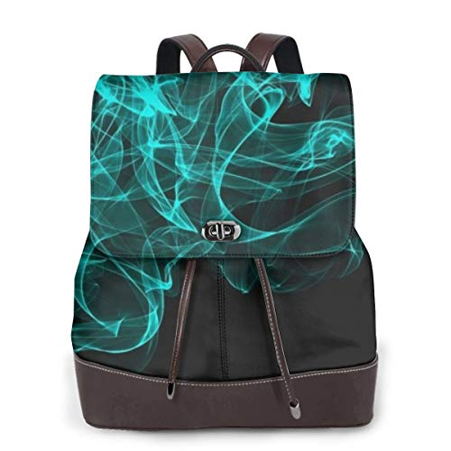 Not Applicable Mehrfarbige Gitarren-Damenrucksack, echtes Leder, für Mädchen, Reisen, Schule, Mini-Schultertasche, Cyan Smoke - Größe: Einheitsgröße