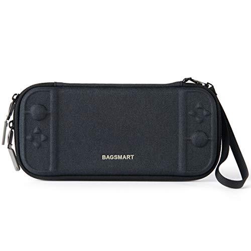 bagsmart Slim Tasche für Nintendo Switch, Nintendo Switch Hülle Case mit 10 Spiele Fäche Schwarz