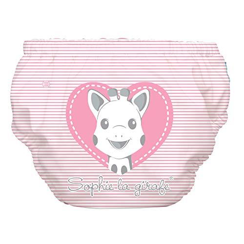 Sophie La Girafe - Pañal de natación reutilizable, 2 en 1, para bebés y niñas, tamaño mediano, diseño de corazón rosa