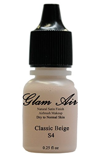 Glam Air Airbrush Makeup Fond de teint satiné Water Based Makeup (0.25 Oz.) (Idéal for Normal To Oily Skin) (Choose Your Color FROM THE Drop Down Menu) (S4 Classic Beige) by glamair