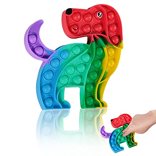 Silicone Pop Push Bubble Fidget Sensory Toy,Stress Reliever Autism Special Need Anti-Anxiety Squeeze Toy,Cute Rainbow Puppy