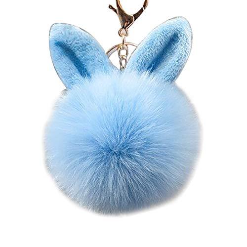 URSFUR Schlüsselanhänger aus Kunstfell Kaninchen Fellbommel Bommel Geburtstagsgeschenk Taschenanhänger (8cm, Azur)