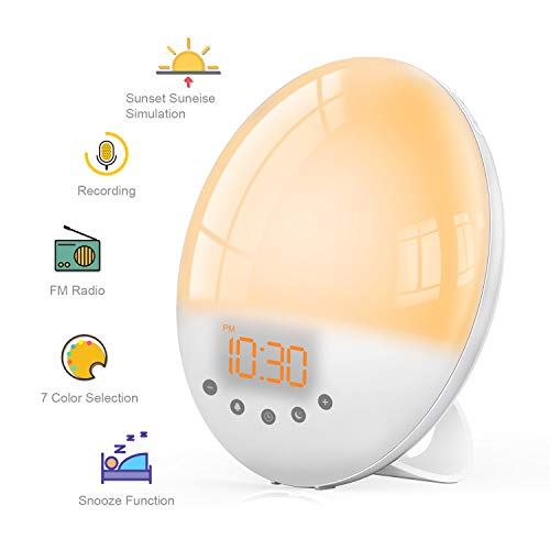 Wake Up Light Despertador Luz, TASMOR Luces Despertador con Simulación de Amanecer/Atardecer, 7 Luces de Colores, 30 Niveles de Brillo, Función Snooze y Grabación, 8 Sonidos Naturales, Radio FM