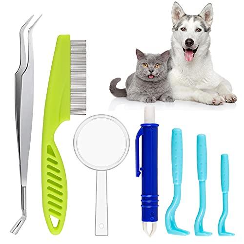 HALOVIE 7 Piezas Garrapatas Herramienta Accesorios Antigarrapatas para Perros Gatos Pinzas para Garrapatas Ganchos Pluma Lupa Peine para Mascotas Garrapatas Protección para Perros, Gatos y Animales